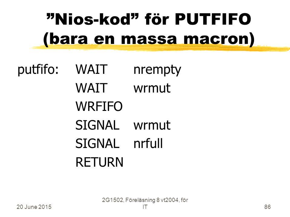 20 June 2015 2G1502, Föreläsning 8 vt2004, för IT86 Nios-kod för PUTFIFO (bara en massa macron) putfifo:WAITnrempty WAITwrmut WRFIFO SIGNALwrmut SIGNALnrfull RETURN