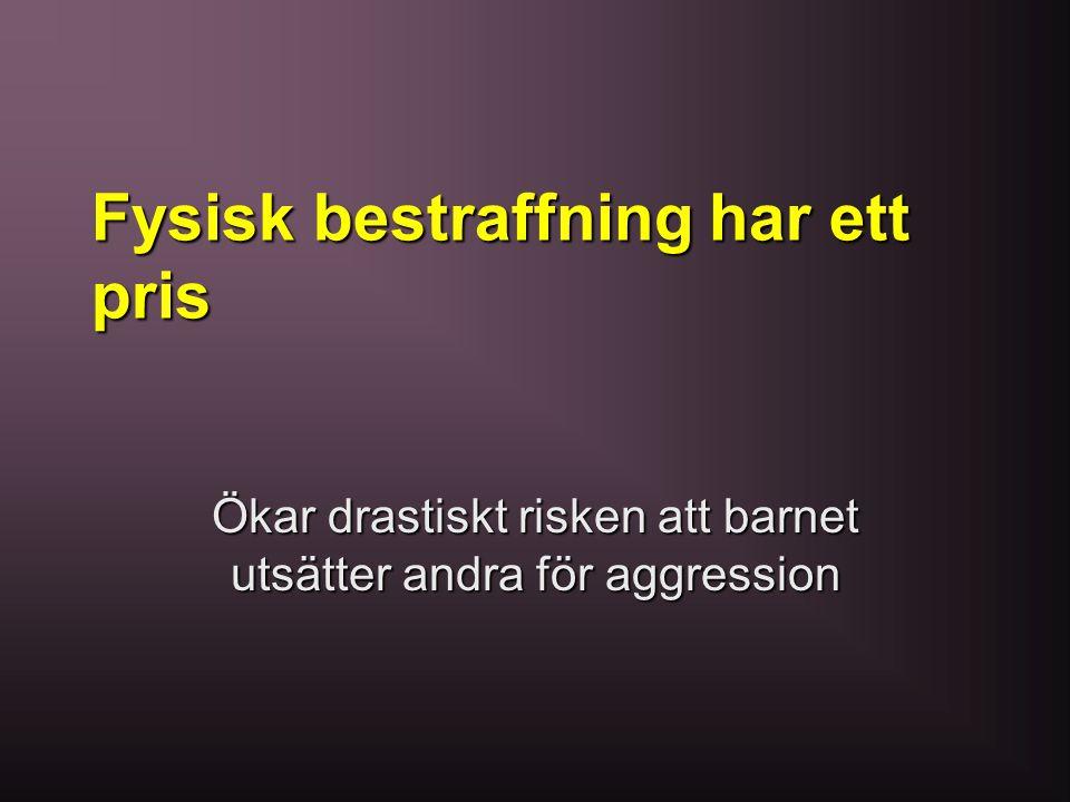 Fysisk bestraffning har ett pris Ökar drastiskt risken att barnet utsätter andra för aggression