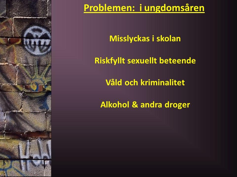 Problemen: i ungdomsåren Misslyckas i skolan Riskfyllt sexuellt beteende Våld och kriminalitet Alkohol & andra droger