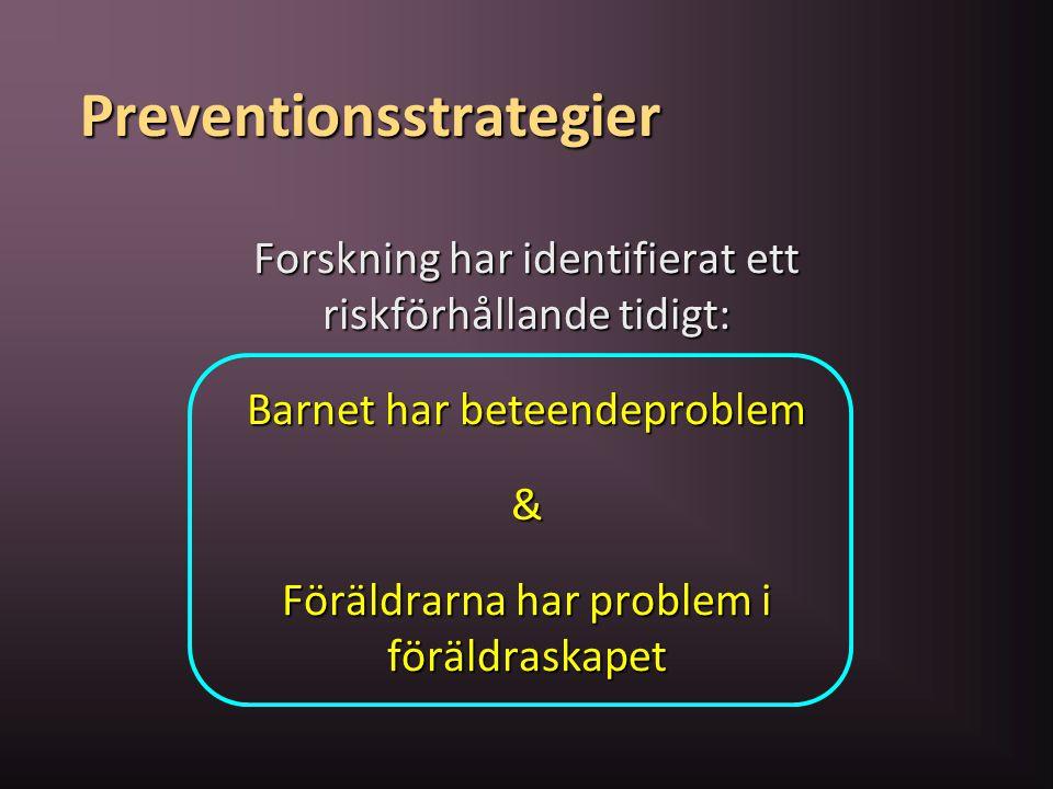 Preventionsstrategier Forskning har identifierat ett riskförhållande tidigt: Barnet har beteendeproblem & Föräldrarna har problem i föräldraskapet