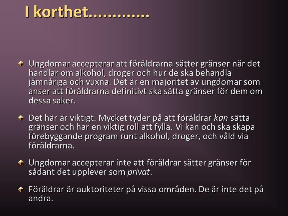 I korthet............. Ungdomar accepterar att föräldrarna sätter gränser när det handlar om alkohol, droger och hur de ska behandla jämnåriga och vux