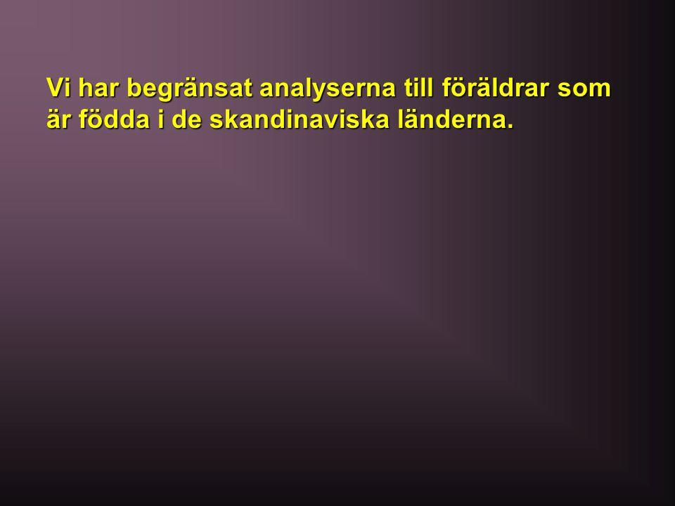 Vi har begränsat analyserna till föräldrar som är födda i de skandinaviska länderna.