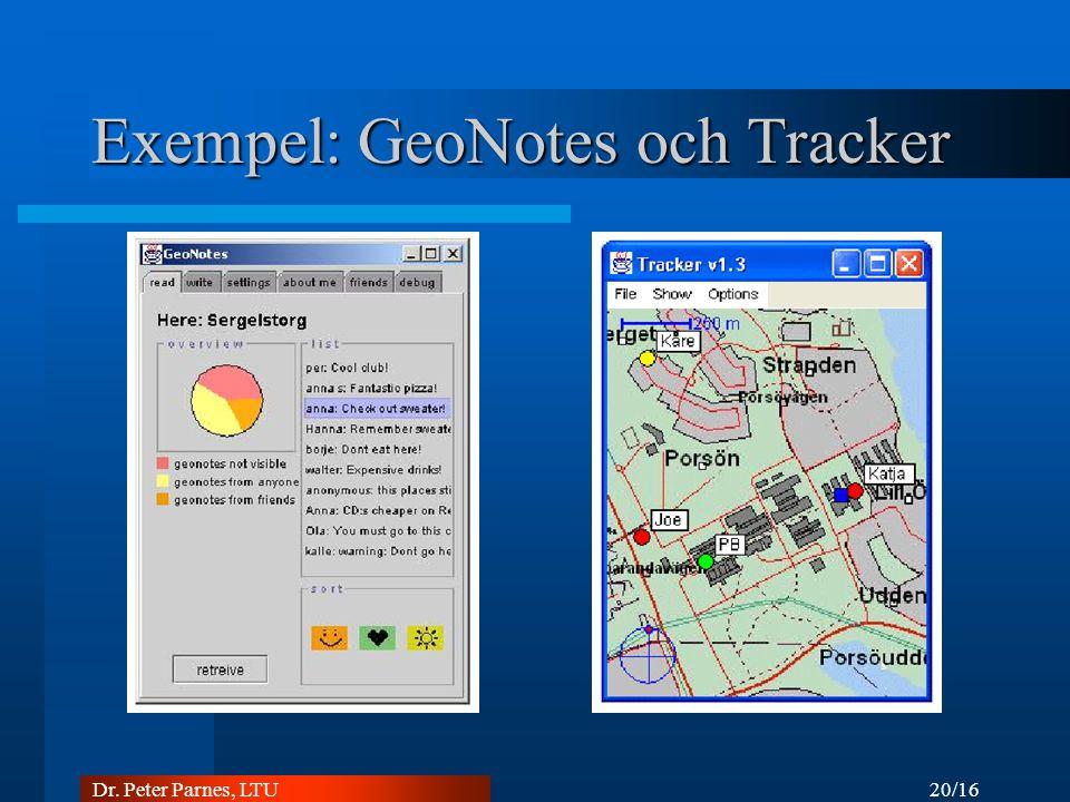 20/16 Dr. Peter Parnes, LTU Exempel: GeoNotes och Tracker