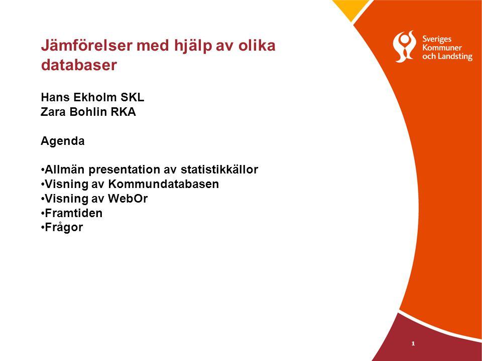 1 Jämförelser med hjälp av olika databaser Hans Ekholm SKL Zara Bohlin RKA Agenda Allmän presentation av statistikkällor Visning av Kommundatabasen Visning av WebOr Framtiden Frågor