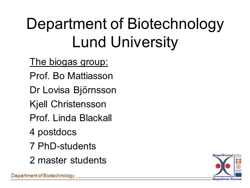Department of Biotechnology Department of Biotechnology Lund University The biogas group: Prof. Bo Mattiasson Dr Lovisa Björnsson Kjell Christensson P