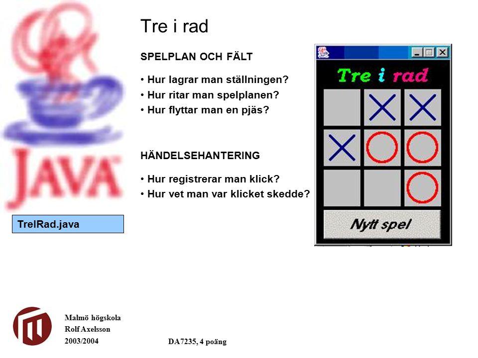 Malmö högskola Rolf Axelsson 2003/2004 DA7235, 4 poäng Tre i rad SPELPLAN OCH FÄLT Hur lagrar man ställningen? Hur ritar man spelplanen? Hur flyttar m