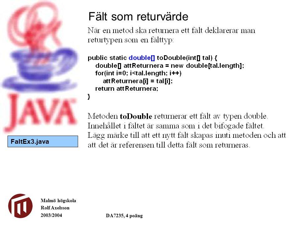 Malmö högskola Rolf Axelsson 2003/2004 DA7235, 4 poäng Fält som returvärde FaltEx3.java