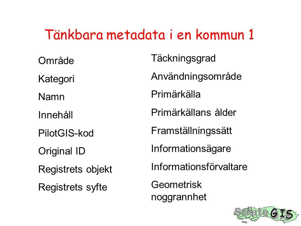Tänkbara metadata i en kommun 1 Område Kategori Namn Innehåll PilotGIS-kod Original ID Registrets objekt Registrets syfte Täckningsgrad Användningsområde Primärkälla Primärkällans ålder Framställningssätt Informationsägare Informationsförvaltare Geometrisk noggrannhet