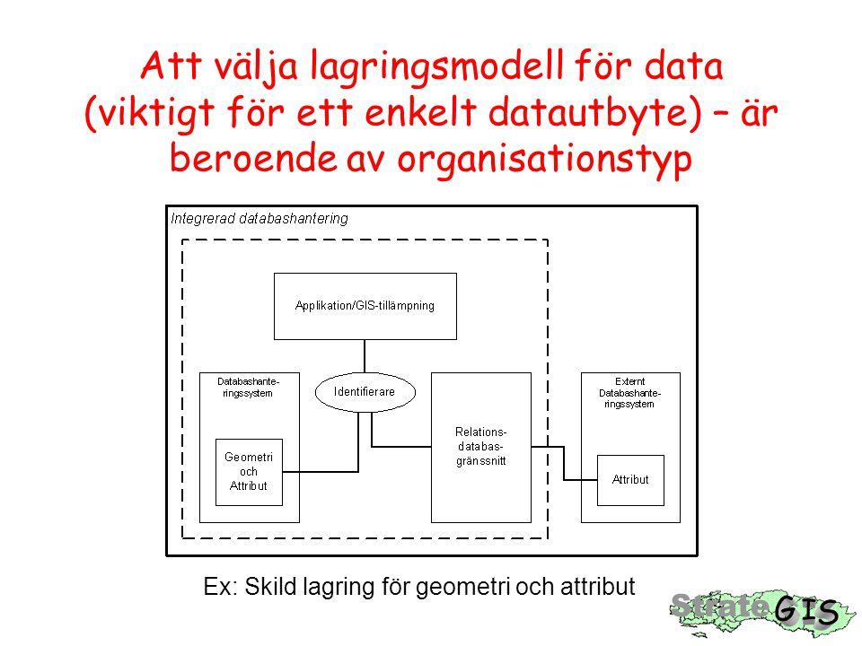 Att välja lagringsmodell för data (viktigt för ett enkelt datautbyte) – är beroende av organisationstyp Ex: Skild lagring för geometri och attribut