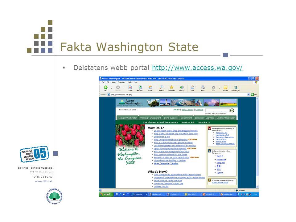 Blekinge Tekniska Högskola 371 79 Karlskrona 0455-38 50 00 www.bth.se Fakta Washington State  Delstatens webb portal http://www.access.wa.gov/http://www.access.wa.gov/