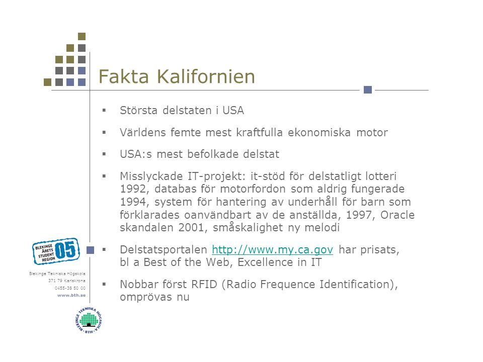 Blekinge Tekniska Högskola 371 79 Karlskrona 0455-38 50 00 www.bth.se Fakta Kalifornien  Största delstaten i USA  Världens femte mest kraftfulla eko