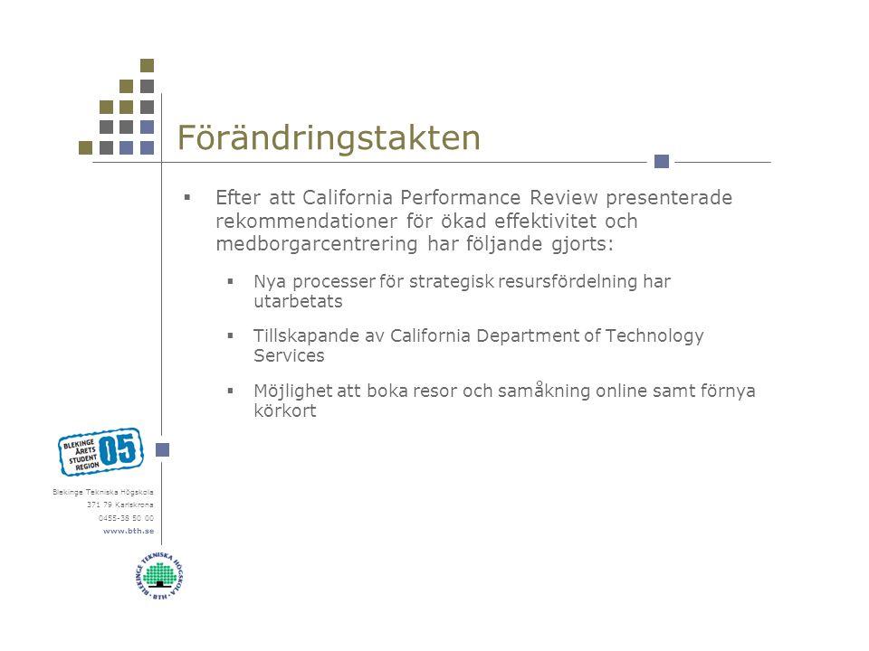 Blekinge Tekniska Högskola 371 79 Karlskrona 0455-38 50 00 www.bth.se Förändringstakten  Efter att California Performance Review presenterade rekomme