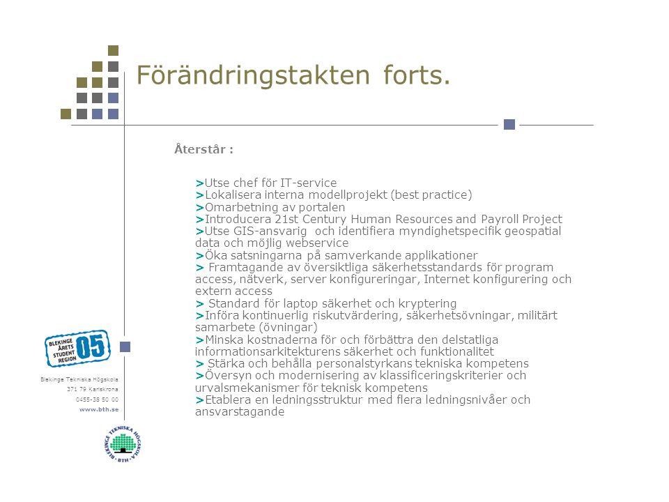 Blekinge Tekniska Högskola 371 79 Karlskrona 0455-38 50 00 www.bth.se Förändringstakten forts. Återstår : >Utse chef för IT-service >Lokalisera intern