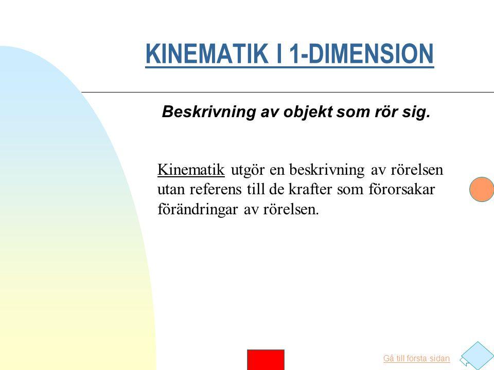 Gå till första sidan KINEMATIK I 1-DIMENSION Beskrivning av objekt som rör sig.