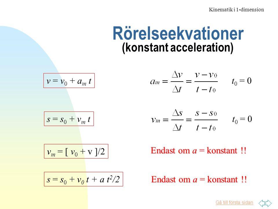 Gå till första sidan Rörelseekvationer (konstant acceleration) v = v 0 + a m t t 0 = 0 s = s 0 + v m t t 0 = 0 v m = [ v 0 + v ]/2 Endast om a = konstant !.