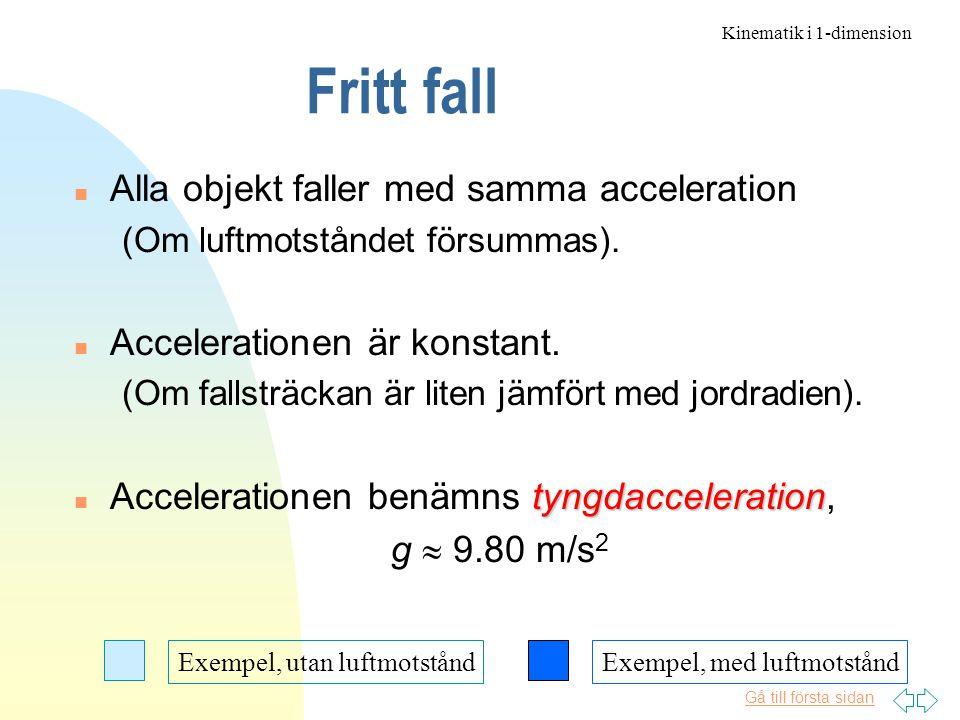Gå till första sidan Fritt fall n Alla objekt faller med samma acceleration (Om luftmotståndet försummas).