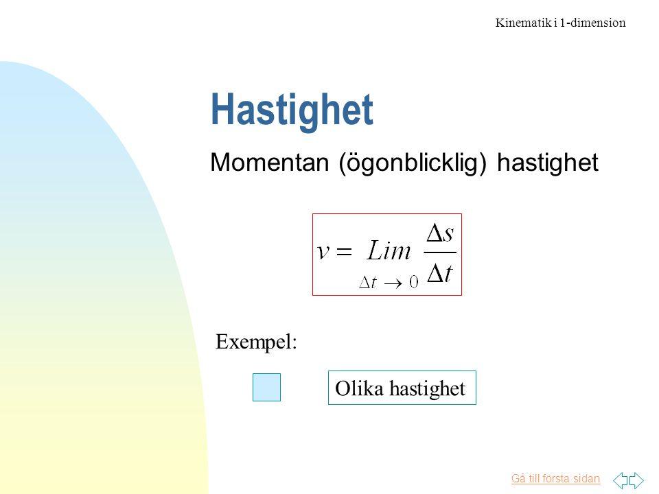 Gå till första sidan Hastighet Momentan (ögonblicklig) hastighet Exempel: Olika hastighet Kinematik i 1-dimension