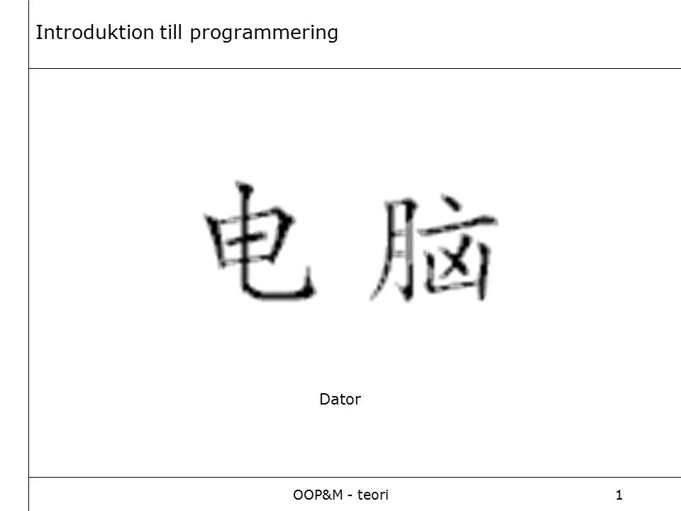 OOP&M - teori1 Dator Introduktion till programmering