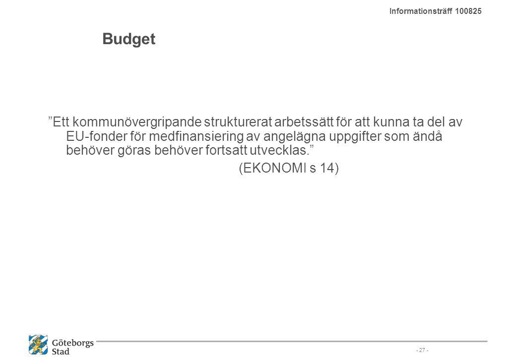 """Budget """"Ett kommunövergripande strukturerat arbetssätt för att kunna ta del av EU-fonder för medfinansiering av angelägna uppgifter som ändå behöver g"""