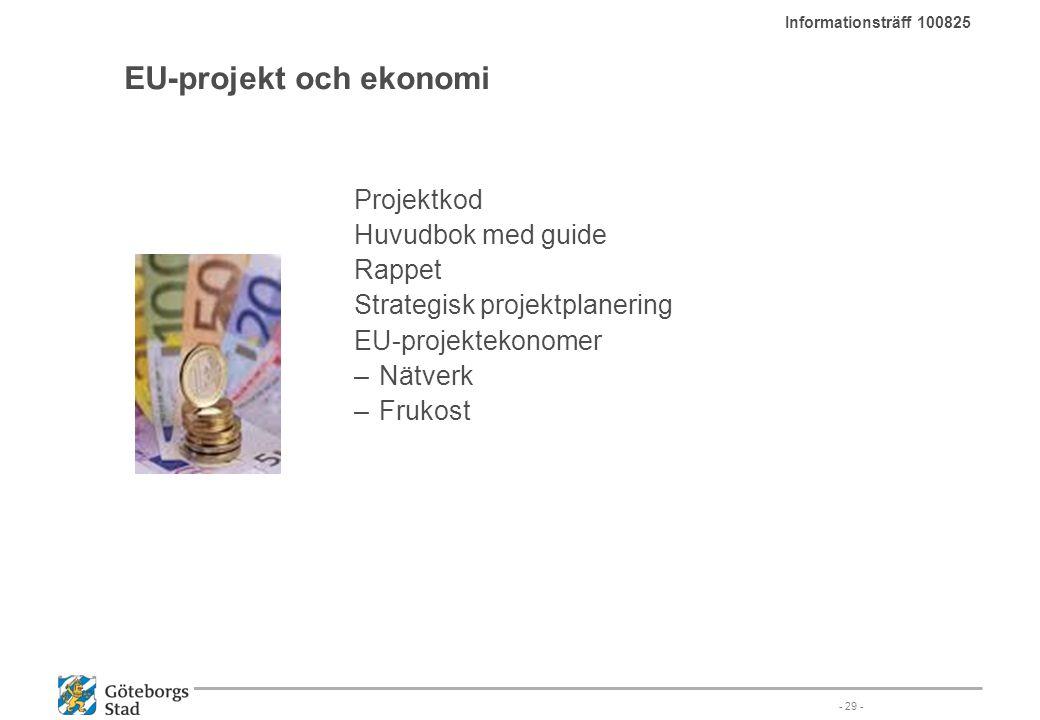 EU-projekt och ekonomi Projektkod Huvudbok med guide Rappet Strategisk projektplanering EU-projektekonomer –Nätverk –Frukost - 29 - Informationsträff
