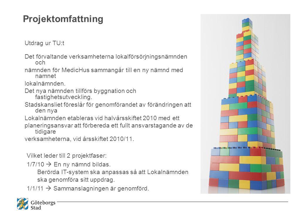 Projektomfattning Utdrag ur TU:t Det förvaltande verksamheterna lokalförsörjningsnämnden och nämnden för MedicHus sammangår till en ny nämnd med namne
