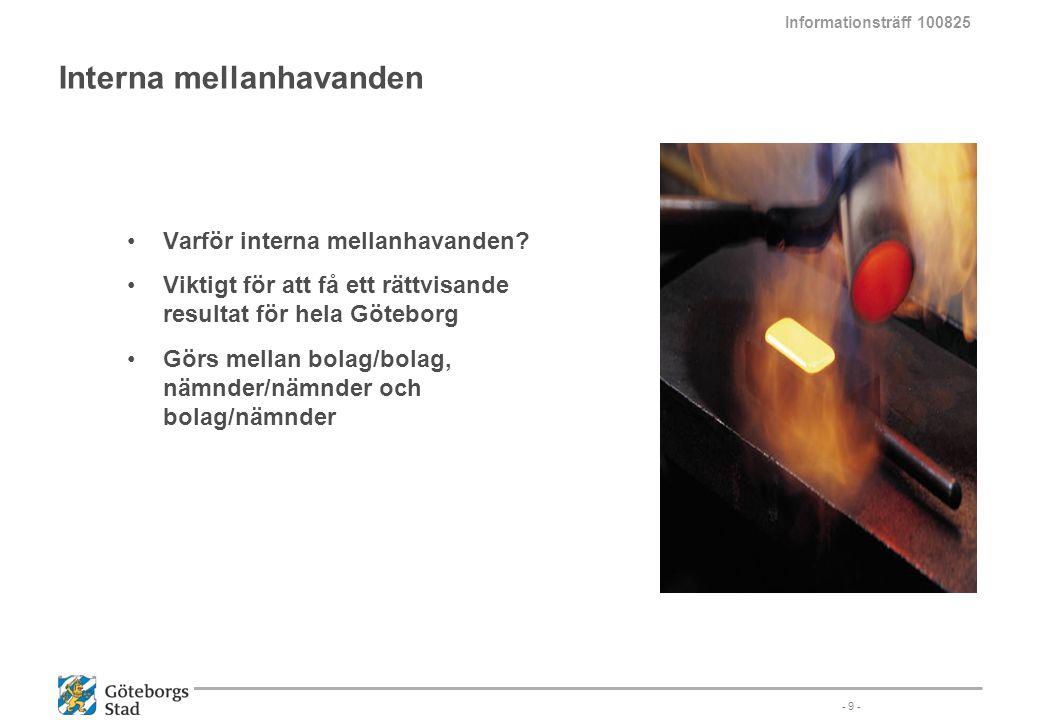 Interna mellanhavanden Varför interna mellanhavanden? Viktigt för att få ett rättvisande resultat för hela Göteborg Görs mellan bolag/bolag, nämnder/n