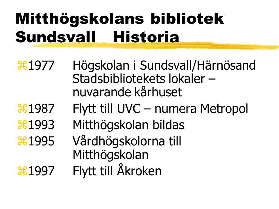 Mitthögskolans bibliotek Sundsvall Historia z1977Högskolan i Sundsvall/Härnösand Stadsbibliotekets lokaler – nuvarande kårhuset z1987Flytt till UVC – numera Metropol z1993Mitthögskolan bildas z1995Vårdhögskolorna till Mitthögskolan z1997Flytt till Åkroken