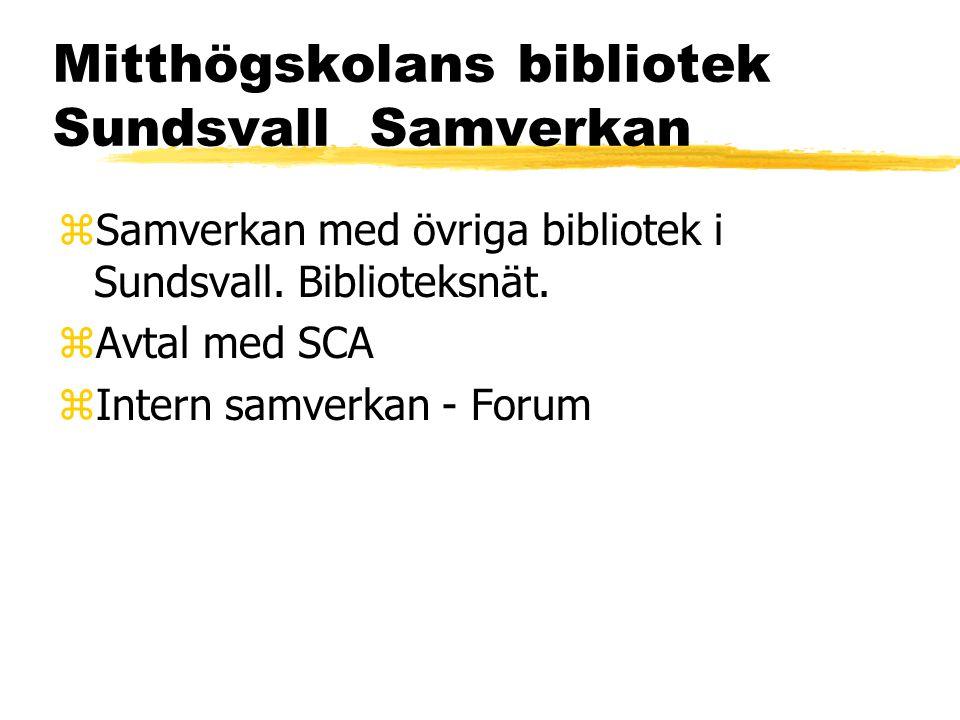 Mitthögskolans bibliotek Sundsvall Samverkan zSamverkan med övriga bibliotek i Sundsvall.
