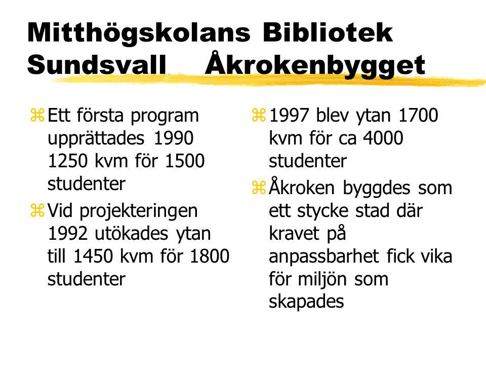 Mitthögskolans Bibliotek Sundsvall Åkrokenbygget zEtt första program upprättades 1990 1250 kvm för 1500 studenter zVid projekteringen 1992 utökades ytan till 1450 kvm för 1800 studenter z 1997 blev ytan 1700 kvm för ca 4000 studenter z Åkroken byggdes som ett stycke stad där kravet på anpassbarhet fick vika för miljön som skapades