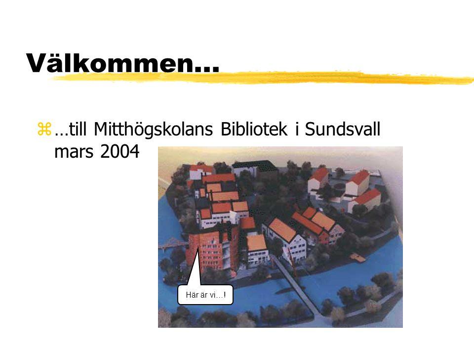 Välkommen... z…till Mitthögskolans Bibliotek i Sundsvall mars 2004 Här är vi…!