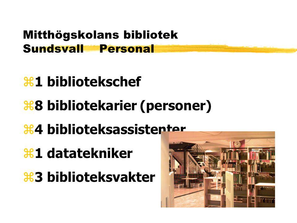 Mitthögskolans bibliotek Sundsvall Personal z1 bibliotekschef z8 bibliotekarier (personer) z4 biblioteksassistenter z1 datatekniker z3 biblioteksvakter