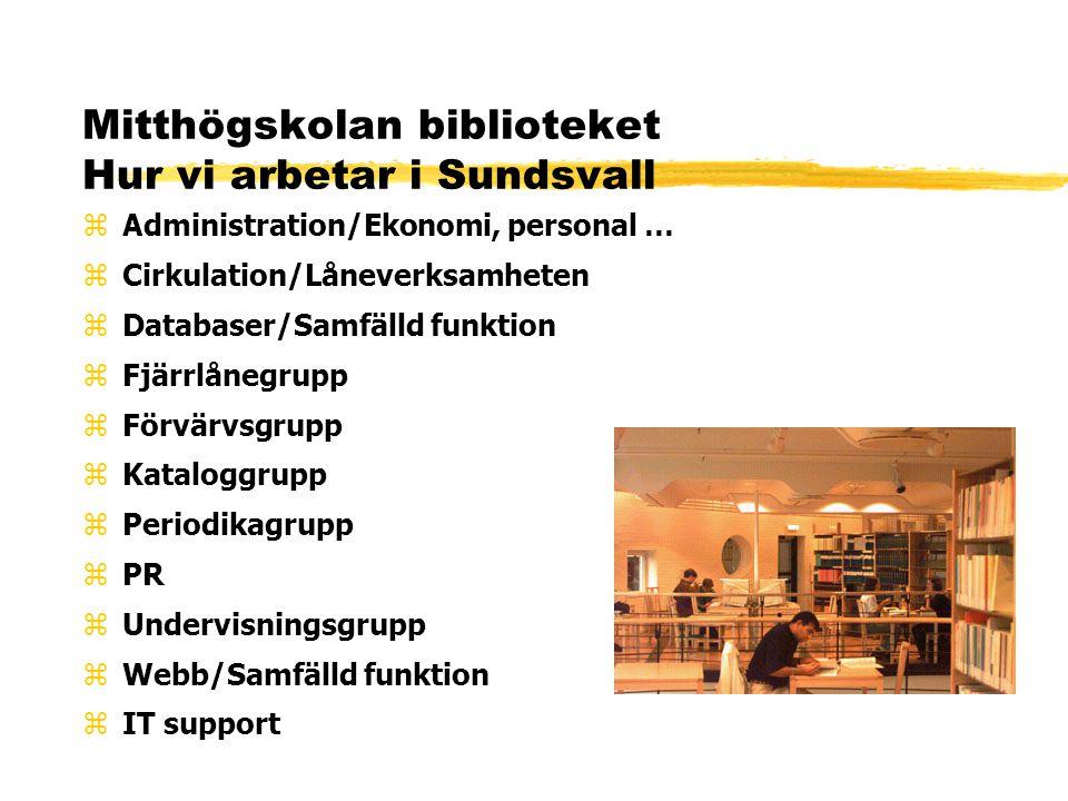 Mitthögskolan biblioteket Hur vi arbetar i Sundsvall zAdministration/Ekonomi, personal … zCirkulation/Låneverksamheten zDatabaser/Samfälld funktion zFjärrlånegrupp zFörvärvsgrupp zKataloggrupp zPeriodikagrupp zPR zUndervisningsgrupp zWebb/Samfälld funktion zIT support