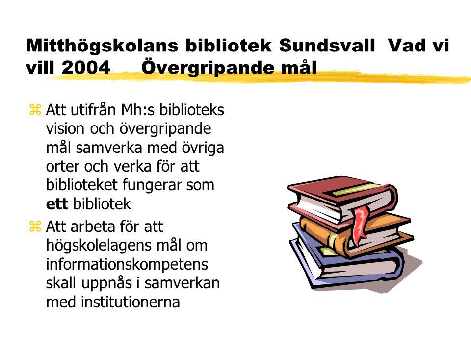 Mitthögskolans bibliotek Sundsvall Vad vi vill 2004 Övergripande mål zAtt utifrån Mh:s biblioteks vision och övergripande mål samverka med övriga orter och verka för att biblioteket fungerar som ett bibliotek zAtt arbeta för att högskolelagens mål om informationskompetens skall uppnås i samverkan med institutionerna