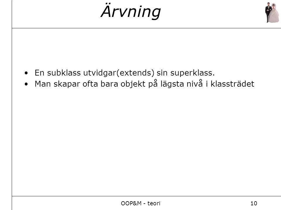 OOP&M - teori10 Ärvning En subklass utvidgar(extends) sin superklass.