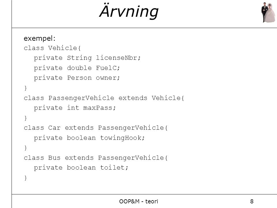 OOP&M - teori8 Ärvning exempel: class Vehicle{ private String licenseNbr; private double FuelC; private Person owner; } class PassengerVehicle extends Vehicle{ private int maxPass; } class Car extends PassengerVehicle{ private boolean towingHook; } class Bus extends PassengerVehicle{ private boolean toilet; }