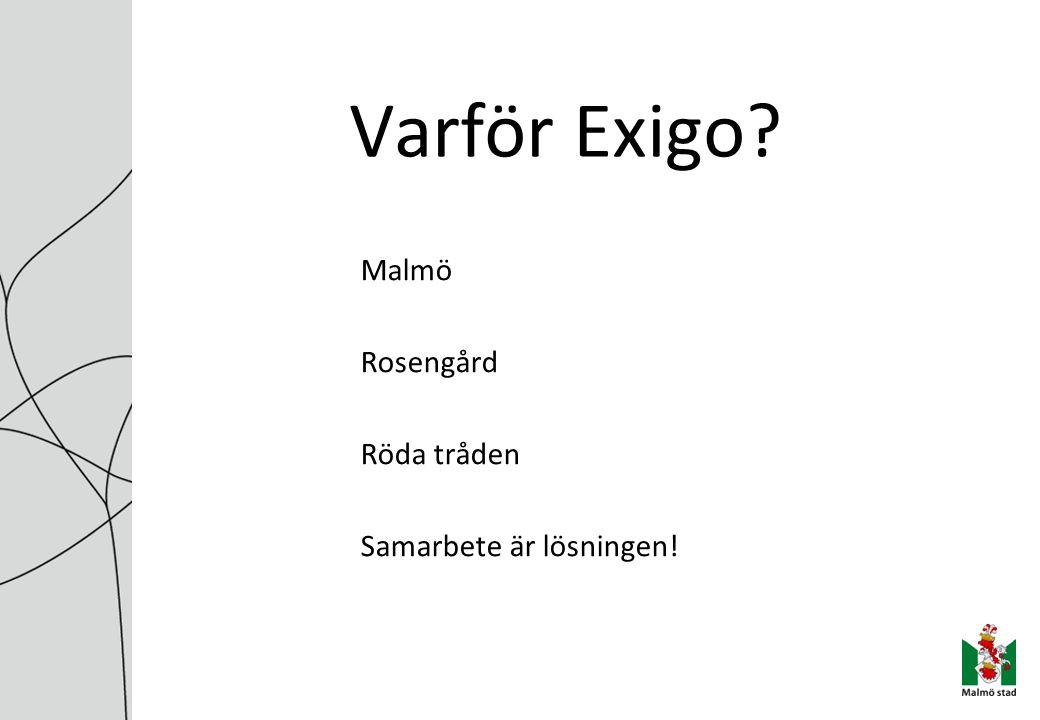Varför Exigo? Malmö Rosengård Röda tråden Samarbete är lösningen!