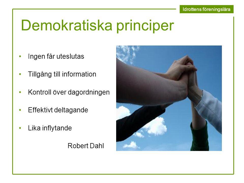 Idrottens föreningslära Demokratiska principer Ingen får uteslutas Tillgång till information Kontroll över dagordningen Effektivt deltagande Lika infl