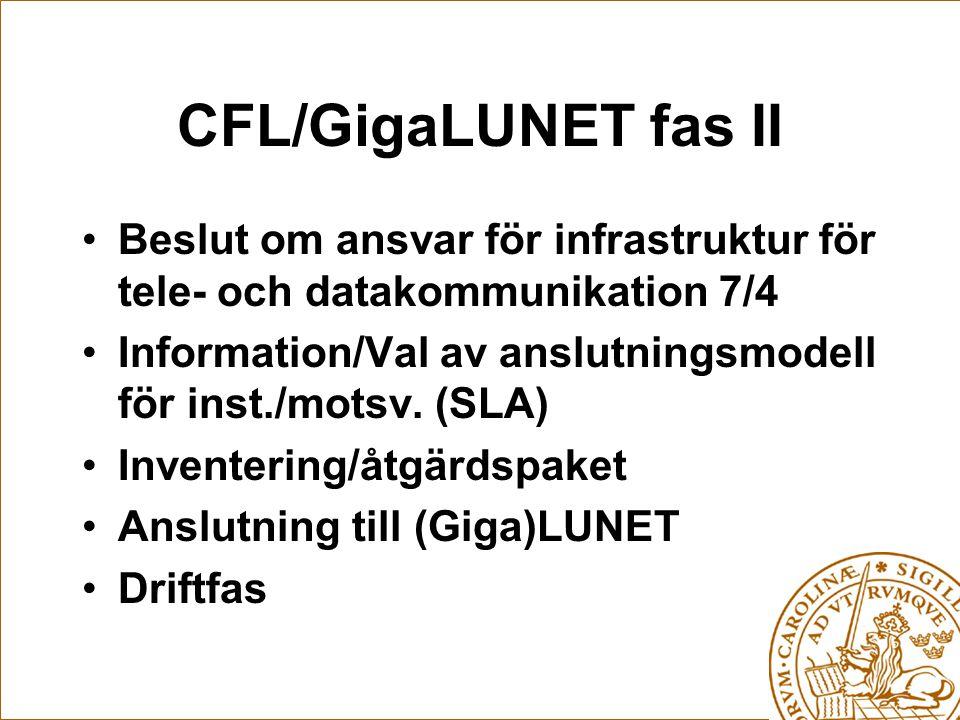 CFL/GigaLUNET fas II Beslut om ansvar för infrastruktur för tele- och datakommunikation 7/4 Information/Val av anslutningsmodell för inst./motsv. (SLA