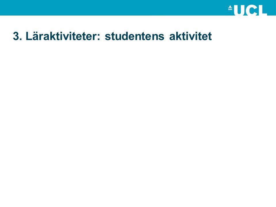 3. Läraktiviteter: studentens aktivitet