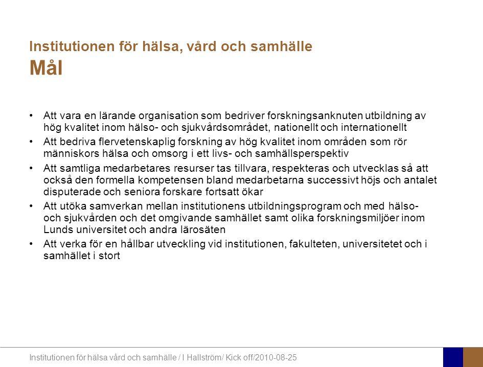 Institutionen för hälsa vård och samhälle / I Hallström/ Kick off/2010-08-25 Planering 2009 Arbetsmiljöpolicy Kompetensförsörjningsstrategi Strategi för utveckling av forskning Strategi för uppdragsutbildning Kommunikationsplan Miljödiplomering