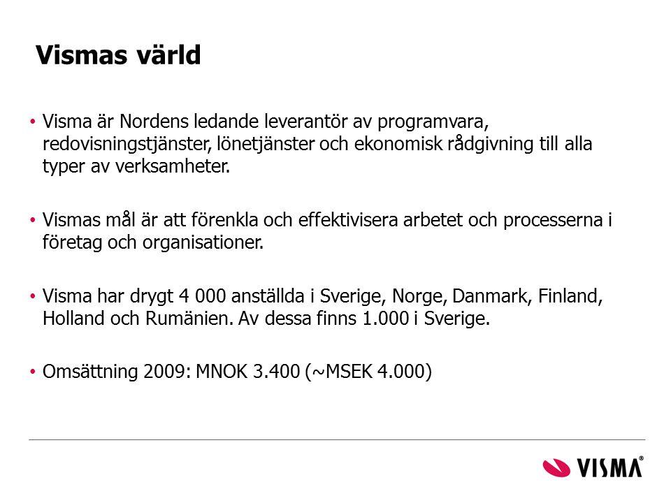 Visma är Nordens ledande leverantör av programvara, redovisningstjänster, lönetjänster och ekonomisk rådgivning till alla typer av verksamheter. Visma