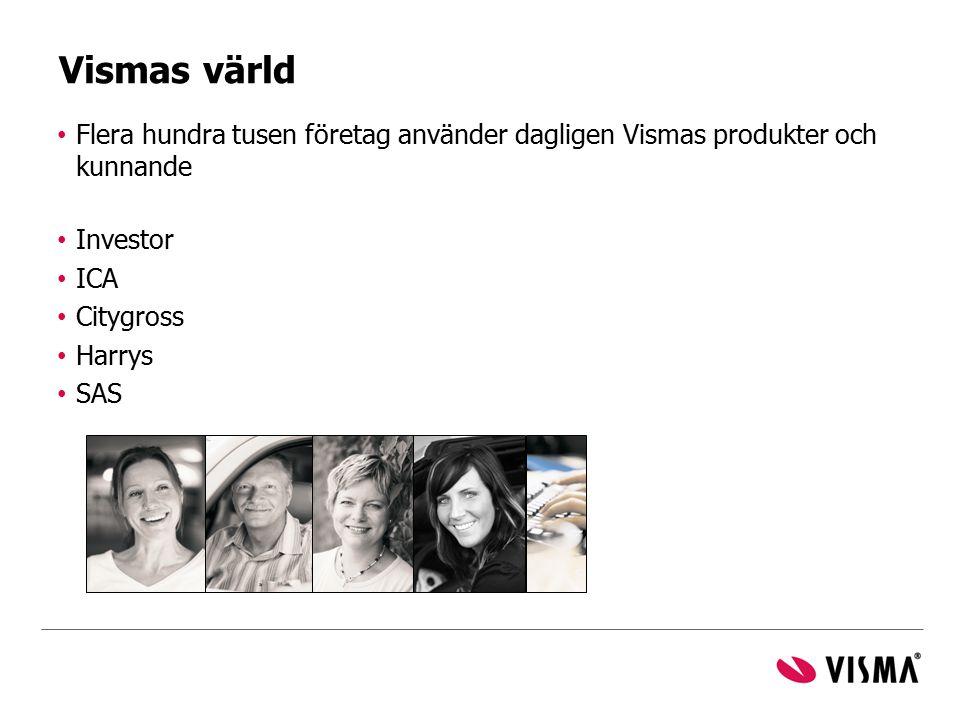 Flera hundra tusen företag använder dagligen Vismas produkter och kunnande Investor ICA Citygross Harrys SAS Vismas värld
