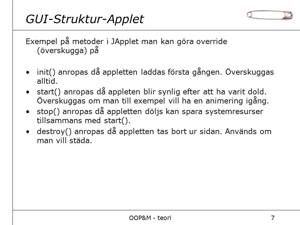 OOP&M - teori7 GUI-Struktur-Applet Exempel på metoder i JApplet man kan göra override (överskugga) på init() anropas då appletten laddas första gången.