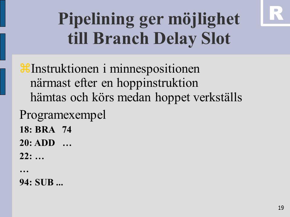 19 Pipelining ger möjlighet till Branch Delay Slot  Instruktionen i minnespositionen närmast efter en hoppinstruktion hämtas och körs medan hoppet ve