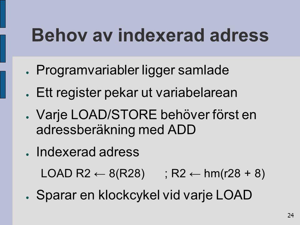 24 Behov av indexerad adress ● Programvariabler ligger samlade ● Ett register pekar ut variabelarean ● Varje LOAD/STORE behöver först en adressberäkni