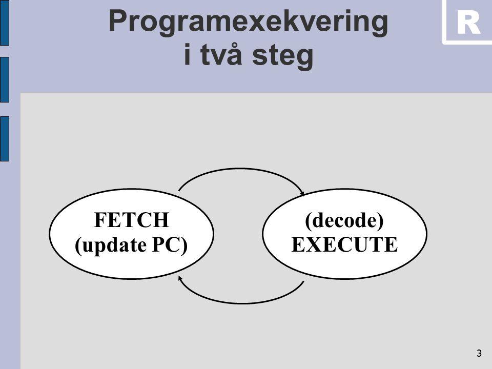 4 Hårdvara i processorn Execute Fetch Operand Write Back Fetch Instruction Register File 32 x 32 Program Memory n x 16 ALU IR Register File 32 x 32 PC R