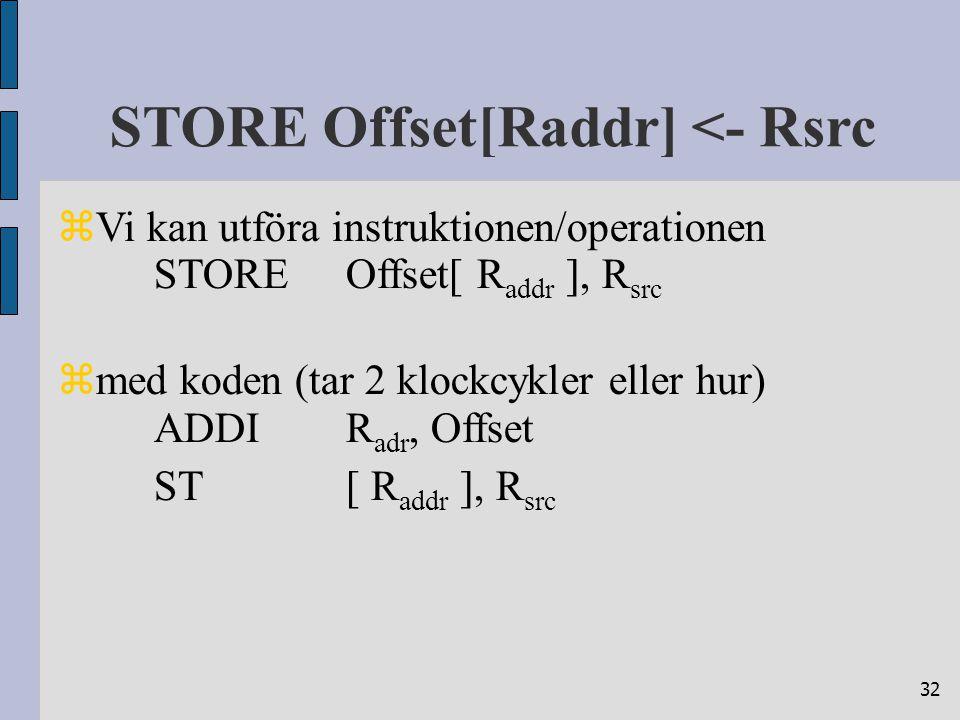 32 STORE Offset[Raddr] <- Rsrc  Vi kan utföra instruktionen/operationen STOREOffset[ R addr ], R src  med koden (tar 2 klockcykler eller hur) ADDIR adr, Offset ST[ R addr ], R src