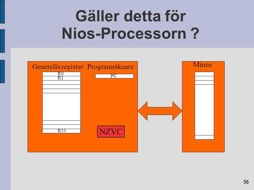 56 Gäller detta för Nios-Processorn ? R0 R31 R1 PC Minne Generella registerProgramräknare NZVC