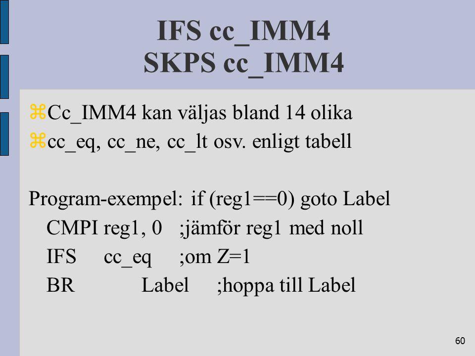 60 IFS cc_IMM4 SKPS cc_IMM4  Cc_IMM4 kan väljas bland 14 olika  cc_eq, cc_ne, cc_lt osv. enligt tabell Program-exempel: if (reg1==0) goto Label CMPI