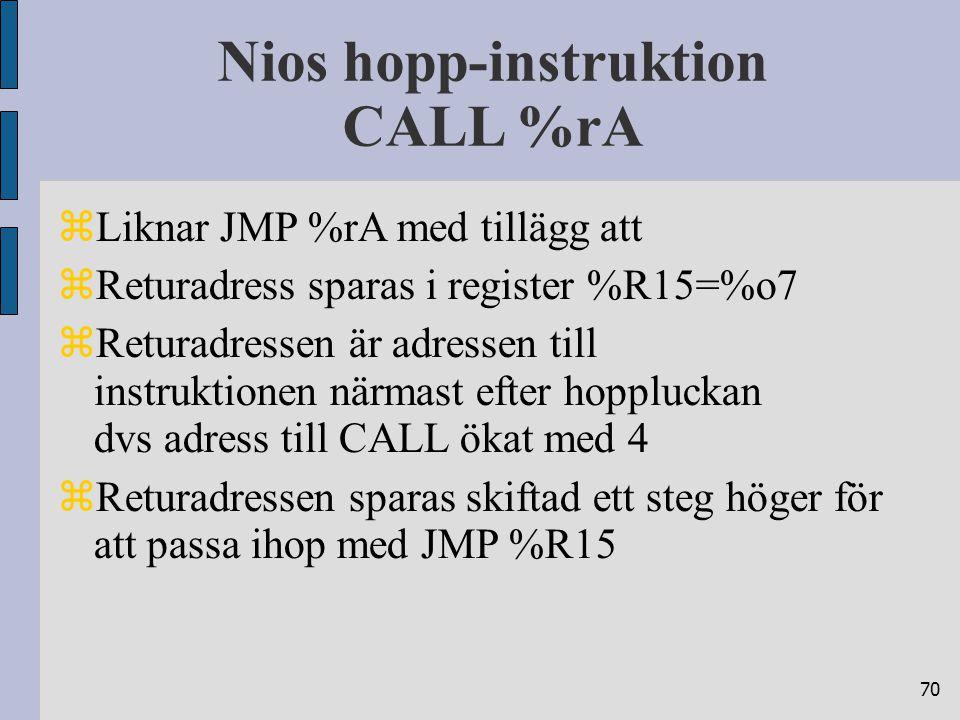 70 Nios hopp-instruktion CALL %rA  Liknar JMP %rA med tillägg att  Returadress sparas i register %R15=%o7  Returadressen är adressen till instruktionen närmast efter hoppluckan dvs adress till CALL ökat med 4  Returadressen sparas skiftad ett steg höger för att passa ihop med JMP %R15